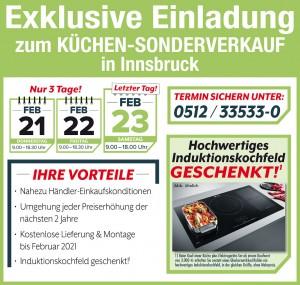 Exklusive Vorteile fast Händler-Einkaufskonditionen, Induktionskochfeld gratis, Lieferung + Montage kostenlos: Küchen-Sonderverkauf bei Avanti in Innsbruck